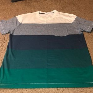 Gap Crew Neck Rugby Stripe Pocket T Shirt, Large